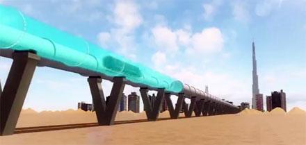 Vue d'artiste de l'Hyperloop reliant Dubaï à Abou Dabi